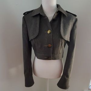 Bebe golden tweede military inspired pantsuit sz 8